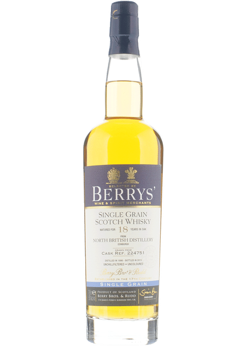 Bottle of Berrys' North British Single Grain 18 yr whiskey