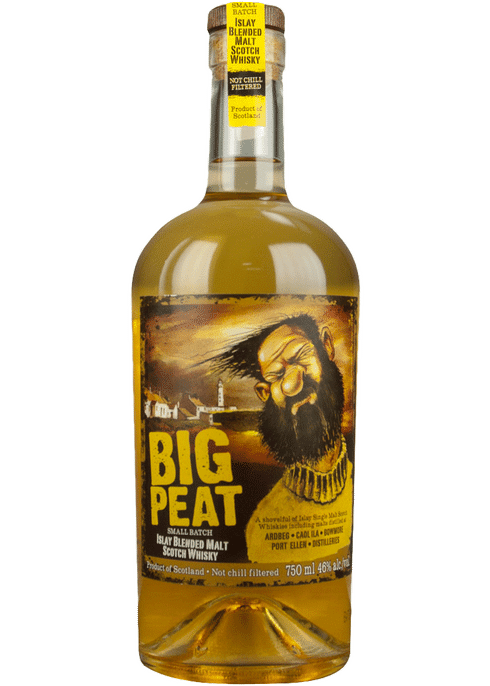 Bottle of Big Peat Vatted Malt whiskey