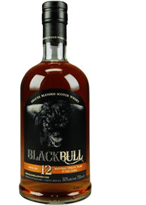 Bottle of Black Bull 12 year old Scotch whiskey