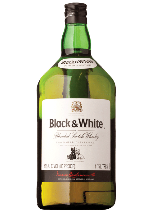 Bottle of Black & White Scotch whiskey