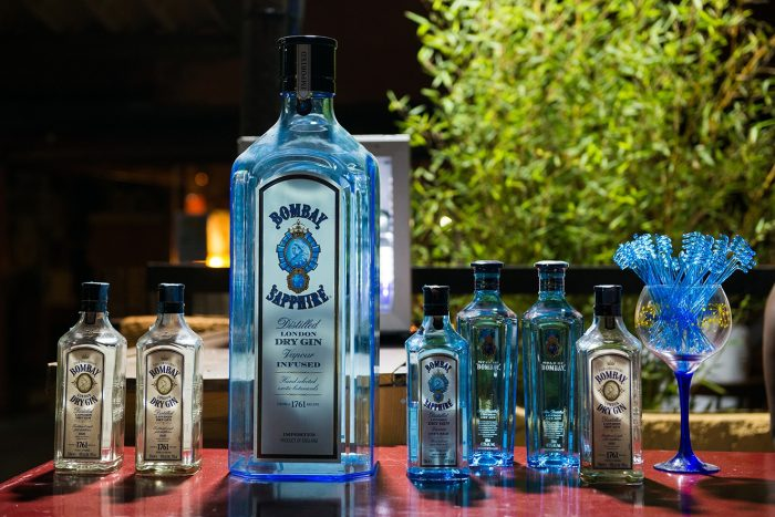 bombay sapphire gin bottle and miniatures