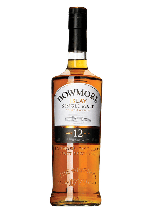 Bottle of Bowmore 12 Yr whiskey