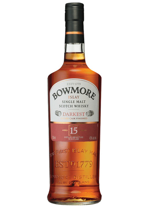 Bottle of Bowmore Darkest 15 Yr whiskey