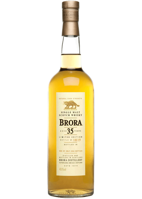 Bottle of Brora 35 Yr whiskey