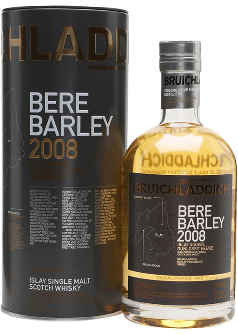 Bottle of Bruichladdich Bere Barley whiskey