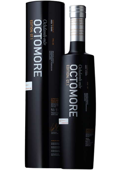 Bottle of Bruichladdich Octomore 7.1 Edition whiskey