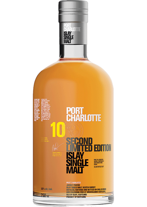 Bottle of Bruichladdich Port Charlotte 10 Years Old whiskey