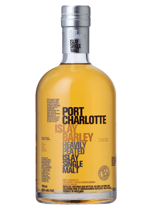 Bottle of Bruichladdich Port Charlotte Islay Barley whiskey