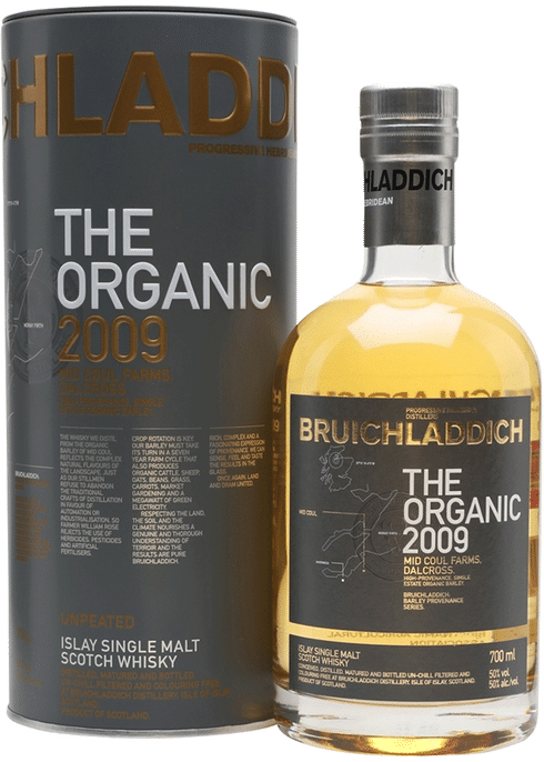 Bottle of Bruichladdich The Organic 2009 whiskey