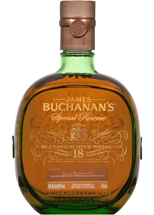 Bottle of Buchanan's 18 Years Old whiskey