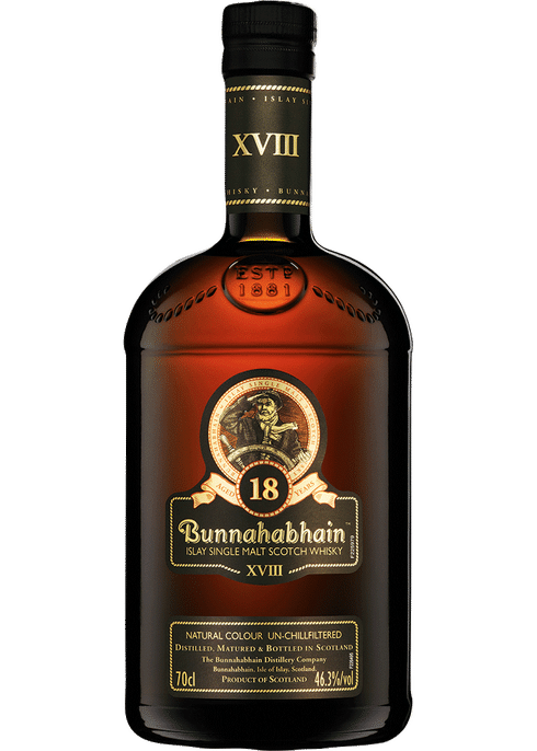 Bottle of Bunnahabhain 18 Years Old whiskey