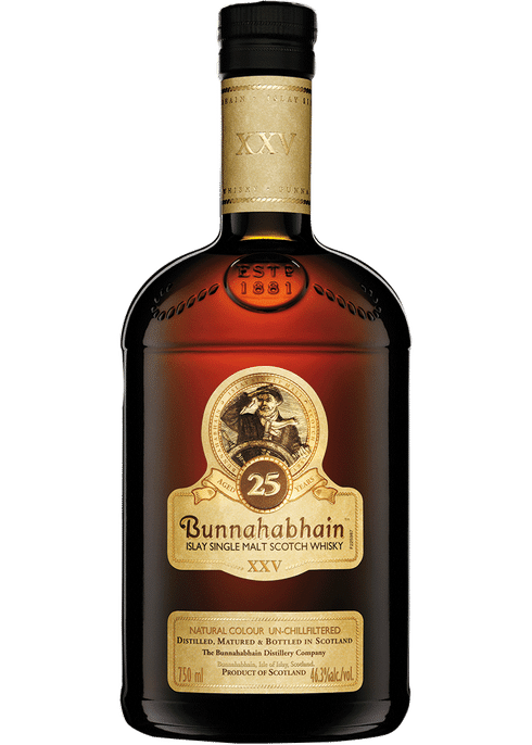 Bottle of Bunnahabhain 25 Years Old whiskey