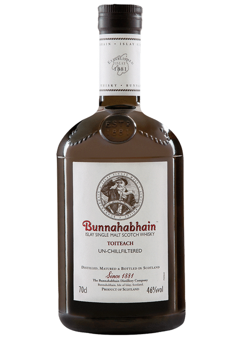 Bottle of Bunnahabhain Toiteach whiskey