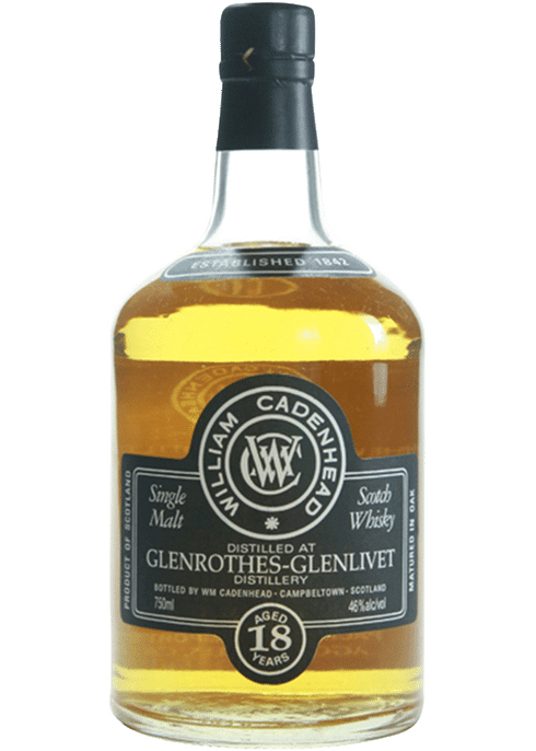 Bottle of Cadenhead's Glenrothes 18 Year whiskey