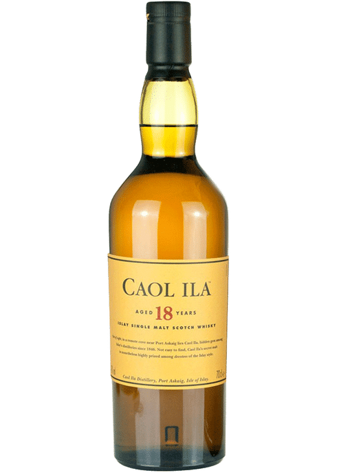 Bottle of Caol Ila 18 Years Old whiskey