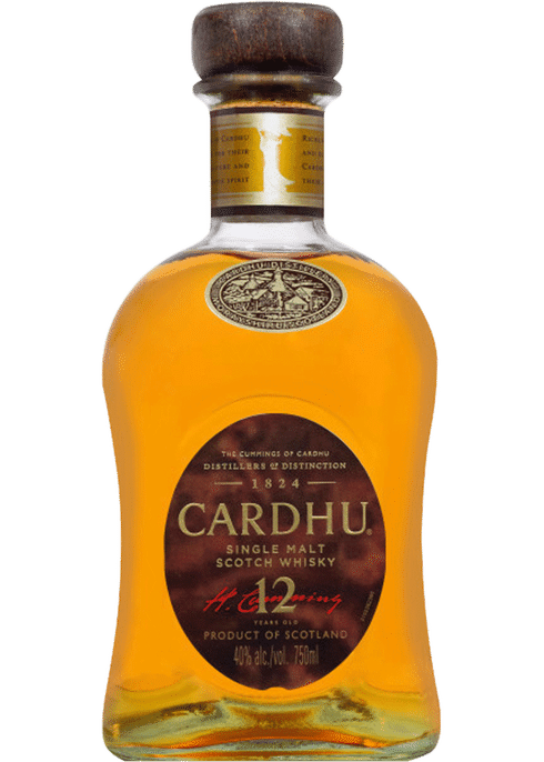 Bottle of Cardhu 12 year old Speyside Single Malt whiskey