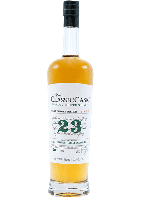 Bottle of Classic Cask 23 year old Caribbean Barrel Rum whiskey