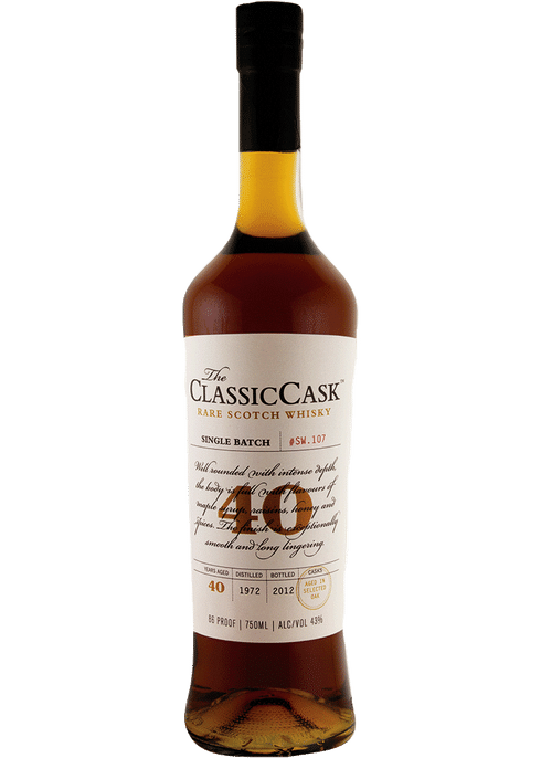 Bottle of Classic Cask 40 Year whiskey