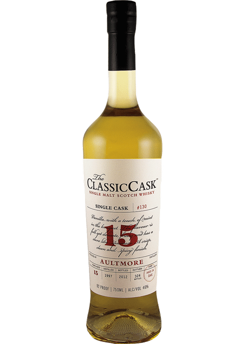 Bottle of Classic Cask Aultmore 15 Year whiskey