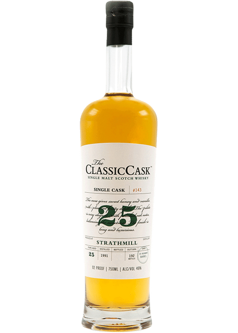 Bottle of Classic Cask Strathmill 25 Year whiskey