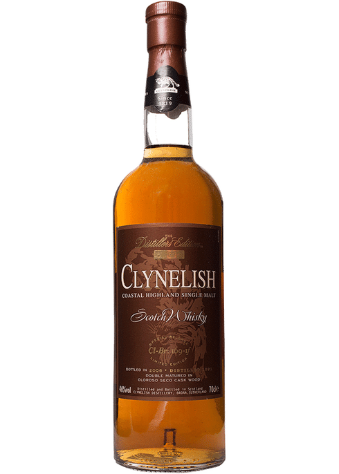 Bottle of Clynelish Distillers Edition whiskey