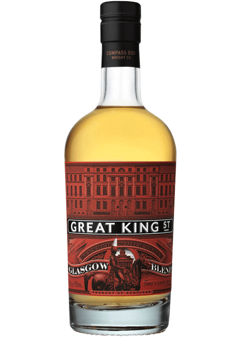 Bottle of Compass Box Great King Street Glasgow whiskey