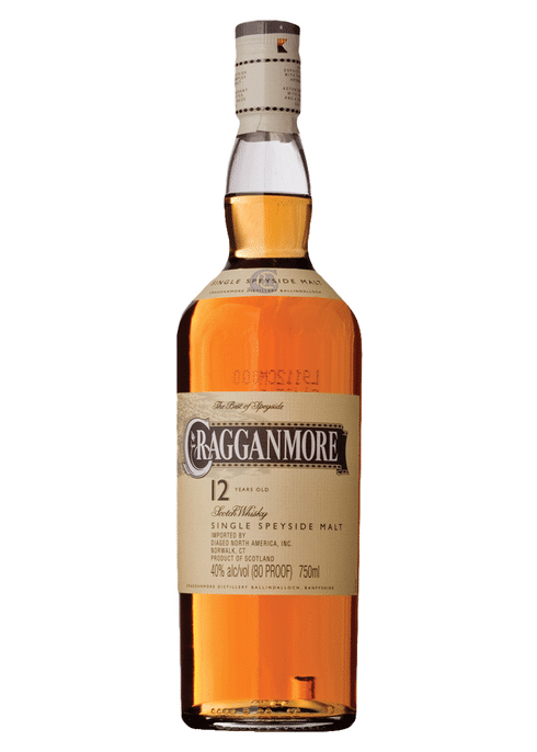 Bottle of Cragganmore 12 Years Old whiskey