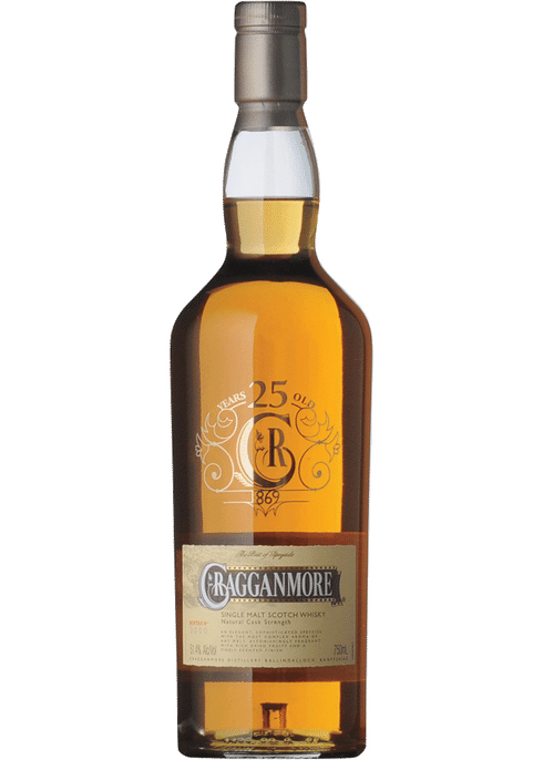 Bottle of Cragganmore 25 Years Old whiskey
