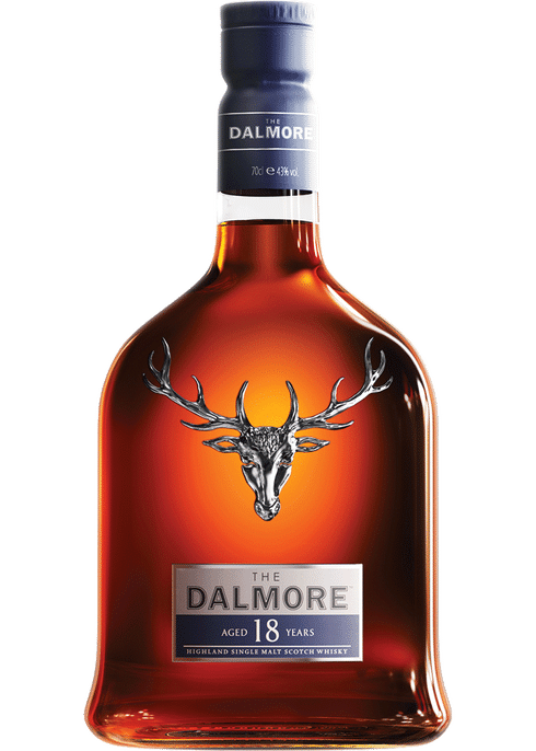 Bottle of Dalmore 18 Years Old whiskey