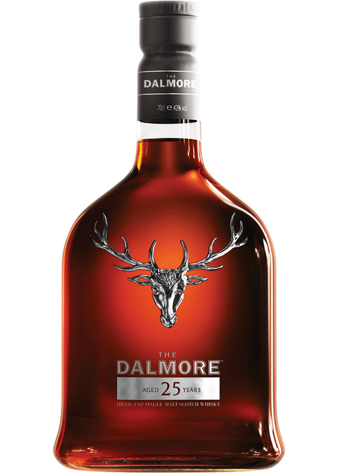 Bottle of Dalmore 25 Years Old whiskey