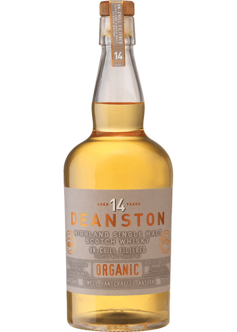 Bottle of Deanston 14 year old Organic whiskey