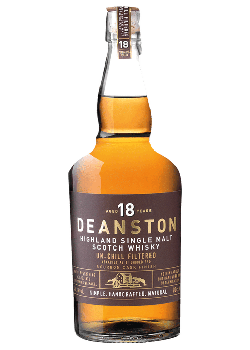 Bottle of Deanston 18 Years Old whiskey