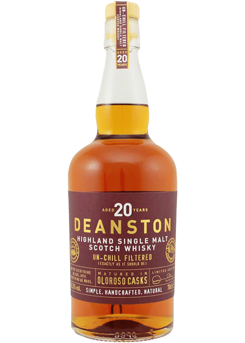Bottle of Deanston 20 year old Oloroso whiskey