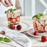 Gin and Tonic with Strawberries and Balsamic Float