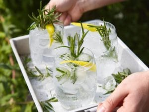 Gin and tonic with Mediterranean water and rosemary