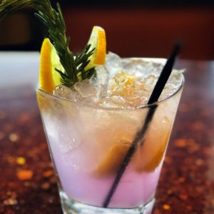 rosemary gin fizz in a glass