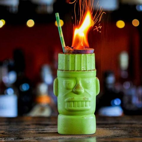 zombie cocktail with flaming passion fruit top