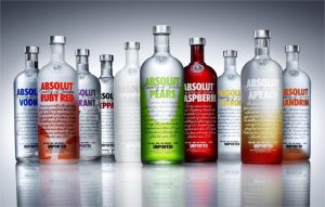 portfolio of different types of absolut vodka