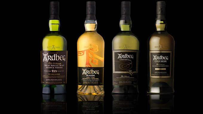 Different types of Ardbeg whisky bottles