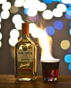 bacardi 151 with flaming drink beside it