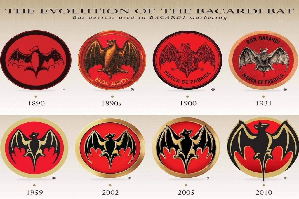 Bacardi bat label changes overtime