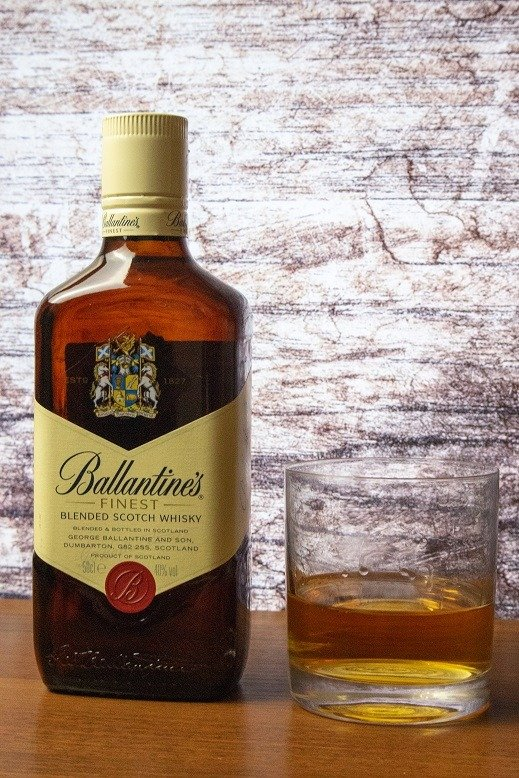 ballantines whisky and glass