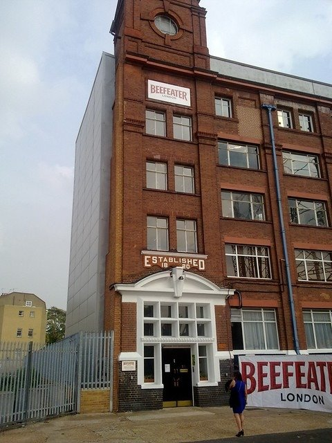 front of beefeater gin distillery in London