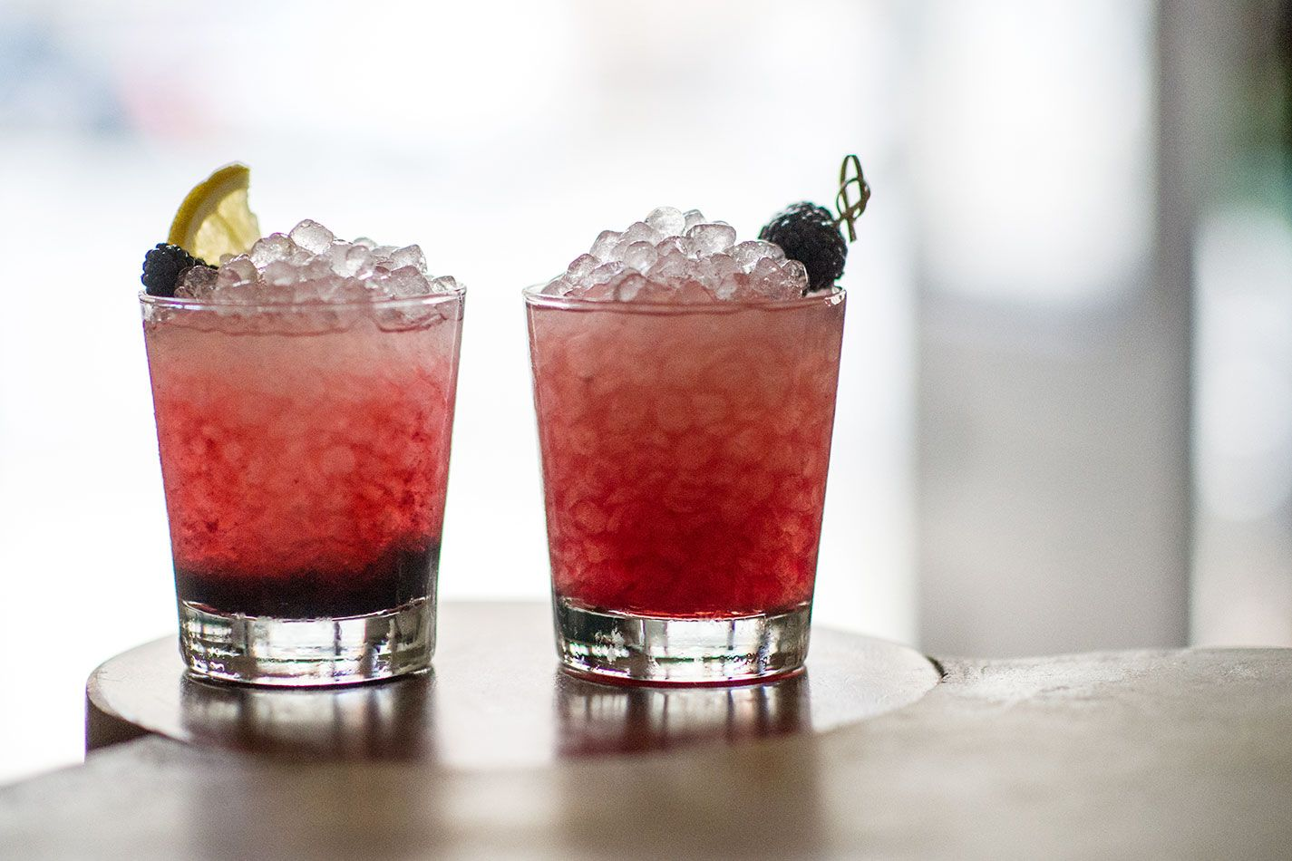 bramble cocktail in two glasses