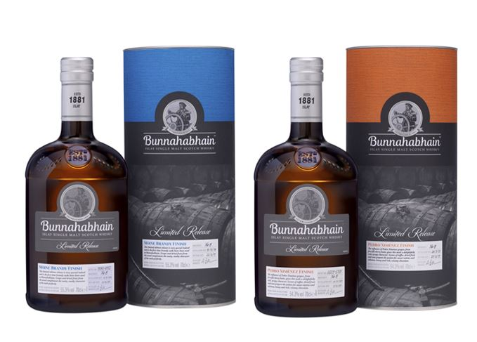 bunnahabhain whisky bottles with packaging