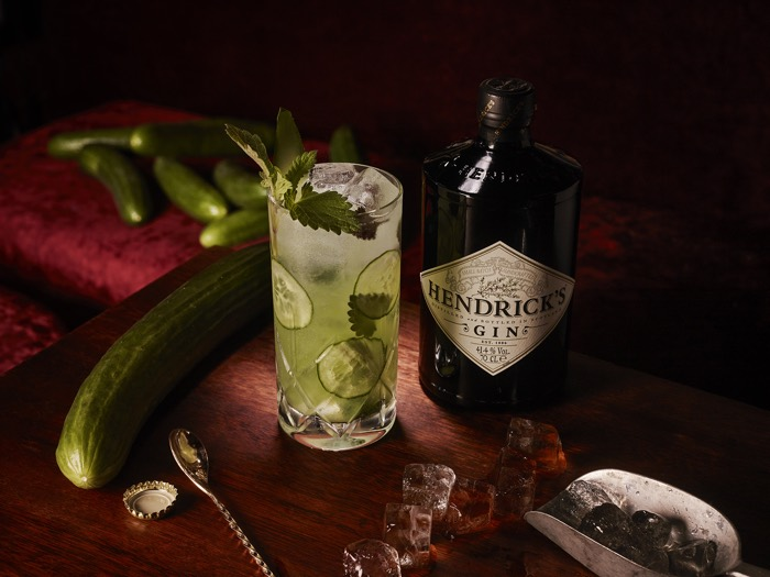 hendricks gin and tonic with cucumber