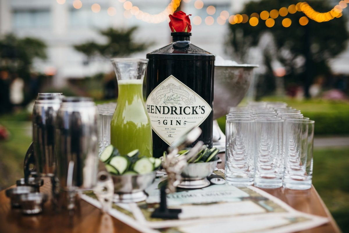 hendricks gin bottle nd glasses