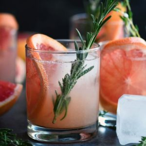 italian greyhound cocktail with rosemary sprig