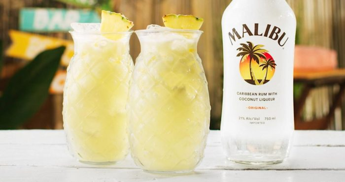malibu rum and pina colada cocktails