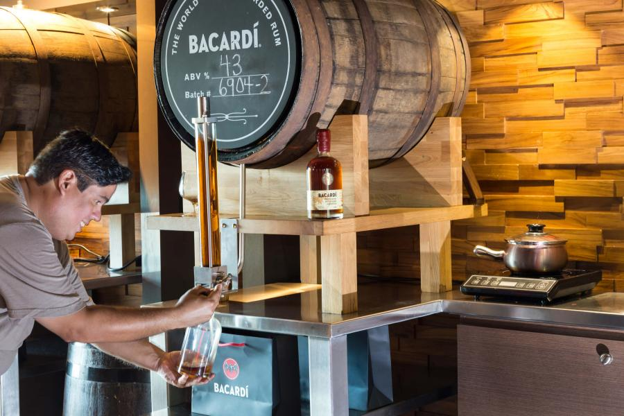 man bottling rum at Bacardi's Puerto Rico distillery